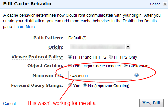 AWS Edit Cache Behavior